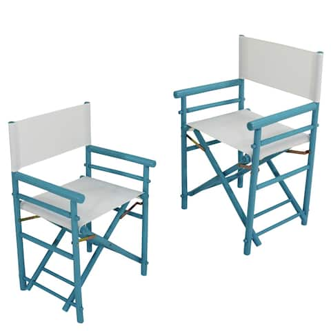Accent Folding Indoor Outdoor Bamboo Director Chair Set of 2