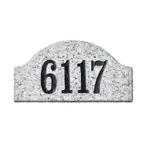 """QualArc Ridgecrest Arch """"White Granite Natural Stone Color"""" Solid Granite Address Plaque"""