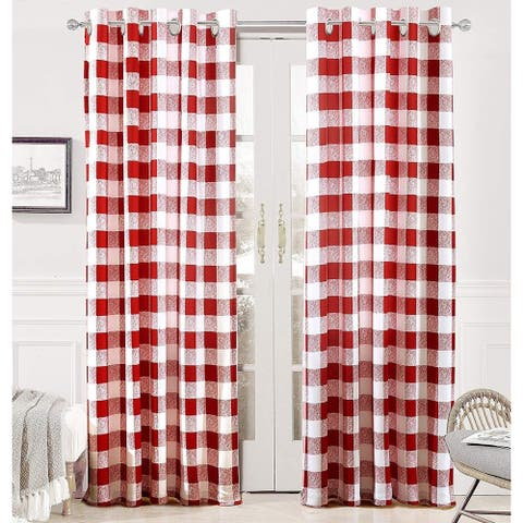 Porch & Den Alfalfa Plaid Pattern Room-darkening Window Curtains