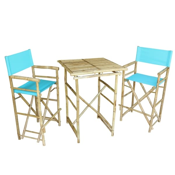Bamboo Espresso Pub Set 2 Indigo High Director Chairs & Round Table