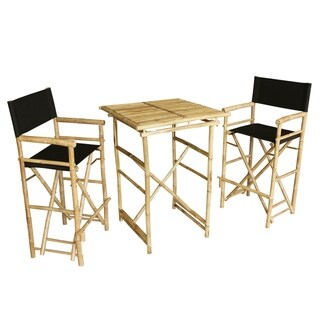 Bamboo Espresso Pub Set 2 White High Director Chairs & Round Table