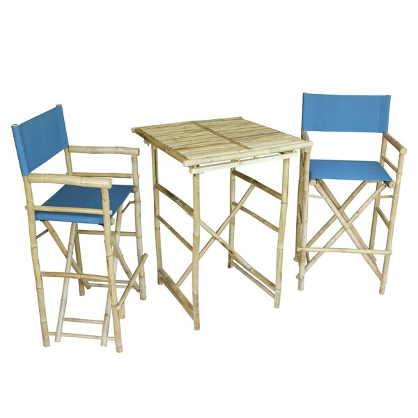 Bamboo Espresso Pub Set 2 Blue High Director Chairs & Round Table
