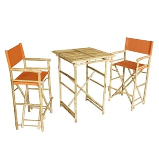 Bamboo Espresso Pub Set 2 Black High Director Chairs & Round Table