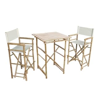 Pub set with 2 white high director chairs & square table