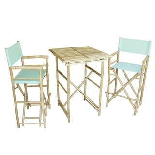 Bamboo Espresso Pub Set 2 Stripe High Director Chairs & Round Table