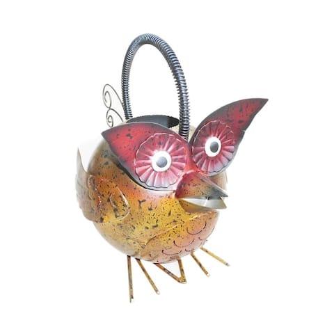 Home Garden Handmade Iron Owl Decorative Watering Can Figurine - Multicolor