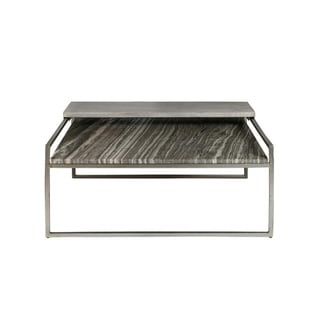 Modern Grey and Sand Natural Stone Top Coffee Table