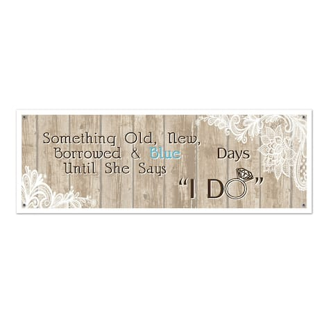 "Beistle 5' x 21"" All Weather Rustic Wedding Party Sign Banner - 12 Pack (1/Pkg)"