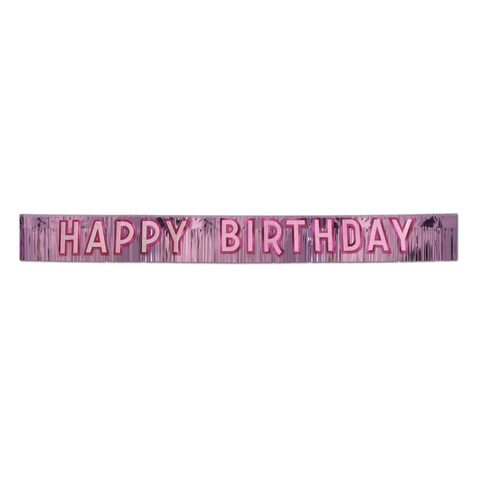 """Beistle 10"""" x 9' Metallic Happy Birthday Party Banner, Pink with Silver - 6 Pack (1/Pkg)"""