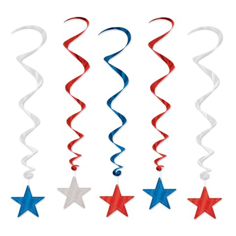 Beistle 3' Patriotic Theme Hanging Star Whirls Party Decoration, Assorted Colors - 6 Pack (5/Pkg)