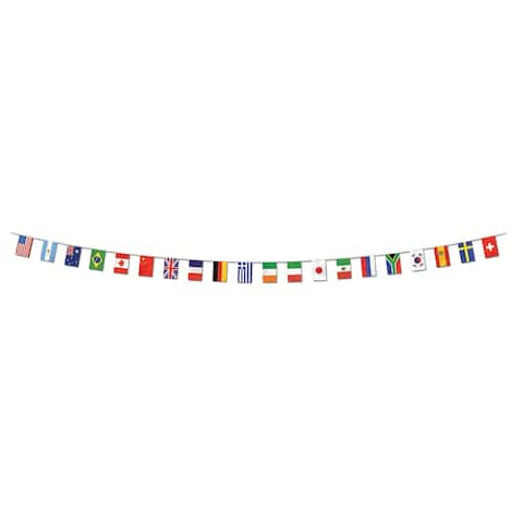 "Beistle 12"" x 23' All Weather International Flag Party Pennant Banner - 12 Pack (1/Pkg)"