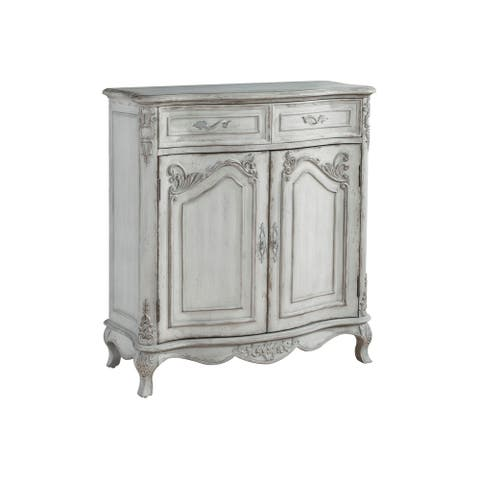 Weathered Cream Distressed Finish Two Door Wine and Bar Cabinet Chest