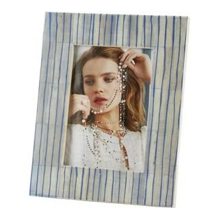 Saro Lifestyle Blue Line Design Bone Photo Frame