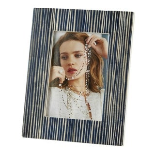 Saro Lifestyle Dark Blue Line Design Bone Photo Frame