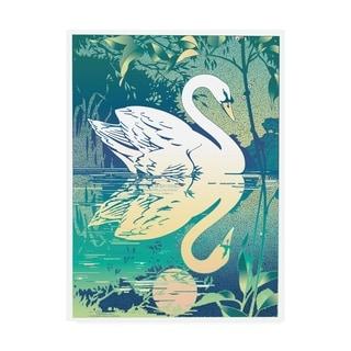 David Chestnutt 'Swan White And Green' Canvas Art
