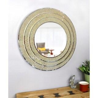 "Thea Mixed Glass Mosaic 30-inch Diameter Round Wall Mirror - 30"" Dia."