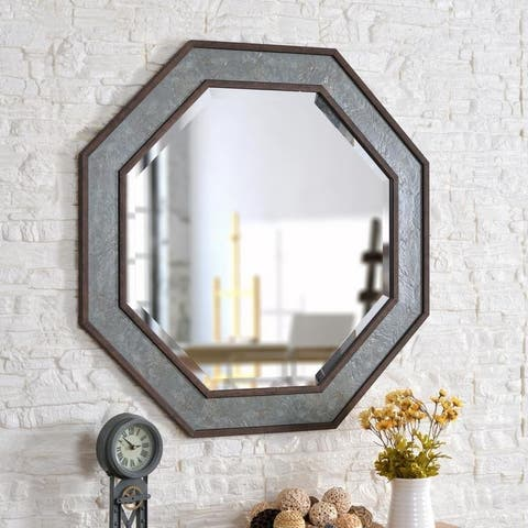 """Walt Slate and Antique Brown 34-inch Height Octagon Wall Mirror - 34"""" x 34"""""""