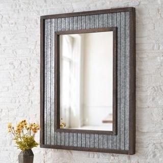 Anna Galvanized and Wood 40-inch Height Rectangular Wall Mirror
