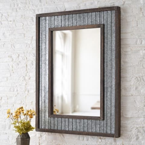 Design Craft Anna Galvanized and Distressed Wood 40-inch Height Rectangular Wall Mirror