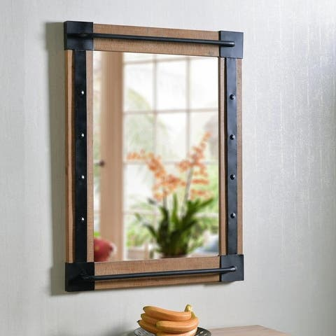 "Elena Reclaimed Wood and Black 40-inch Height Rectangular Wall Mirror - 40"" x 30"""