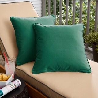 Sunbrella Forest Green Indoor/Outdoor Corded Pillow, Set of 2