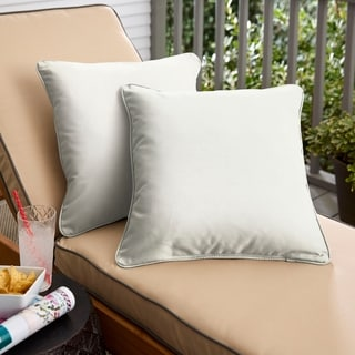 Sunbrella Canvas Taupe Indoor/Outdoor Corded Pillow, Set of 2
