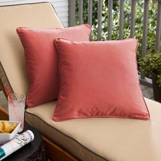 Sunbrella Terra Cotta Indoor/Outdoor Corded Pillow, Set of 2