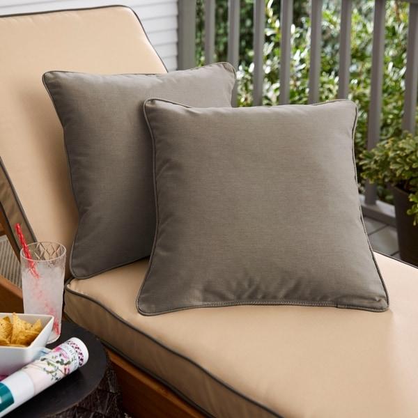 Sunbrella Canvas Ivory Indoor/Outdoor Corded Pillow, Set of 2