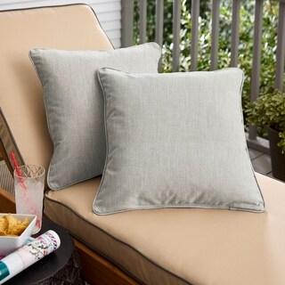 Sunbrella Granite Grey Indoor/Outdoor Corded Pillow, Set of 2