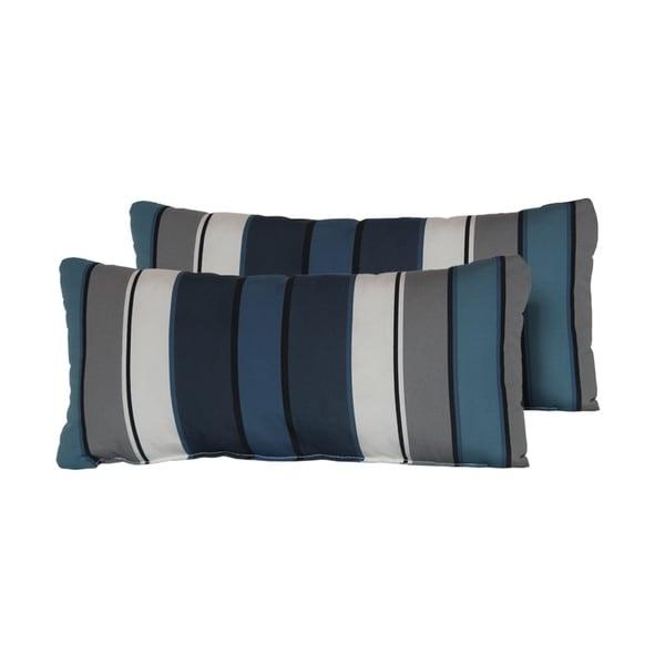 Captains Blue Stripe Outdoor Throw Pillows Rectangle Set of 2