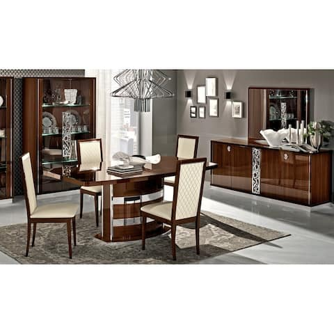Luca Home Walnut Extendable Dinning Table - Brown