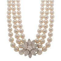 Multi-Strand Pearl Diamond Flower Necklace
