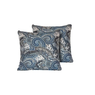 Paisley Indigo Outdoor Throw Pillows Square Set of 2