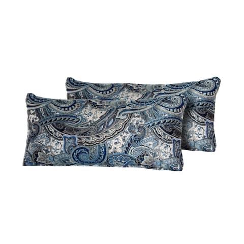 Paisley Indigo Outdoor Throw Pillows Rectangle Set of 2