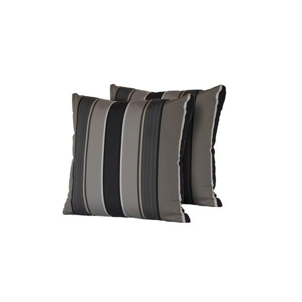 Grey Mix Stripe Outdoor Throw Pillows Square Set of 2