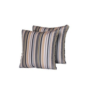 Gold Stripe Outdoor Throw Pillows Square Set of 2