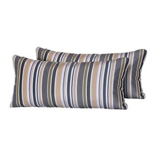 Gold Stripe Outdoor Throw Pillows Rectangle Set of 2