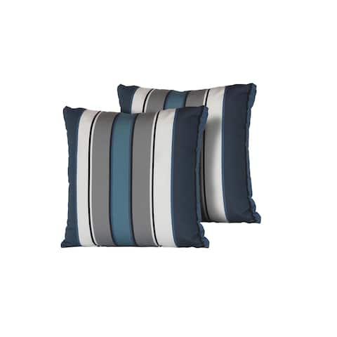 Captains Blue Stripe Outdoor Throw Pillows Square Set of 2