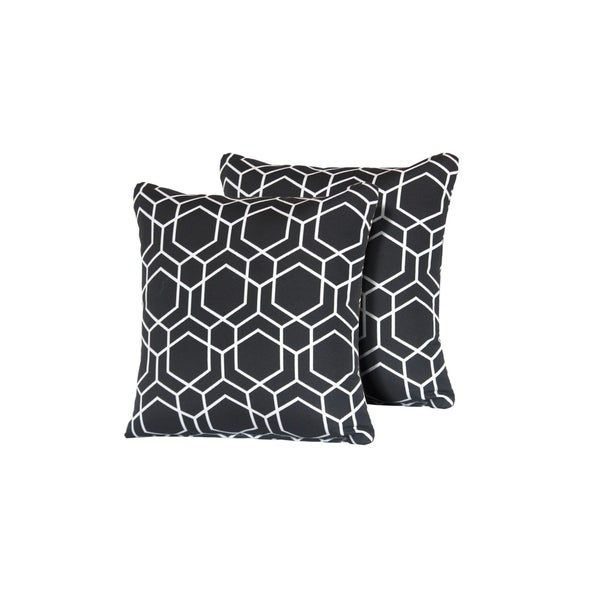 Black Hexagon Outdoor Throw Pillows Square Set of 2