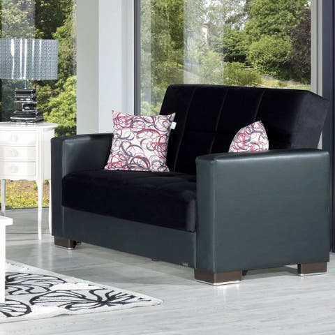 Armada Fabric Upholstery Convertible Love Seat with Storage - 64 W x 38 H x 37 D - 64 W x 38 H x 37 D