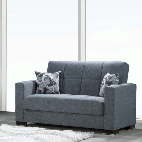 Armada Fabric Upholstery Convertible Love Seat with Storage - 64 W x 38 H x 37 D
