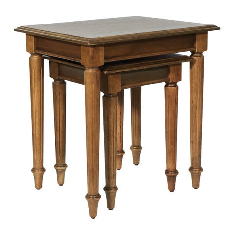 OSP Home Furnishings Bandon Nesting Tables in Ginger Brown Finish - 2 Piece Set
