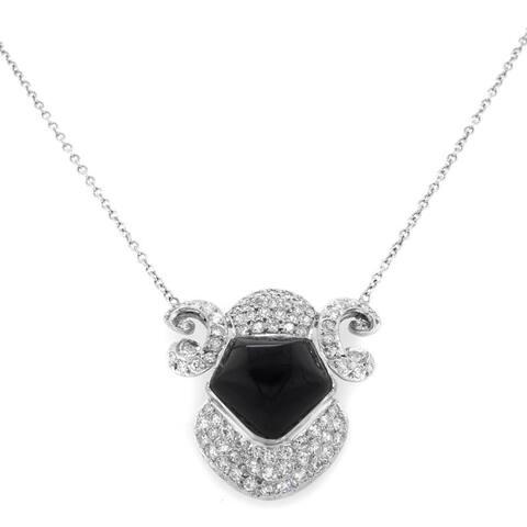 14K White Gold Diamond and Onyx Pendant (I-J,SI1-SI2)