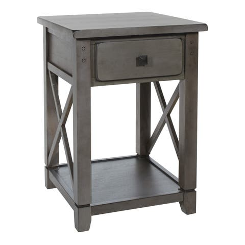 OSP Home Furnishings Hillsboro End Table in Grey Wash Finish