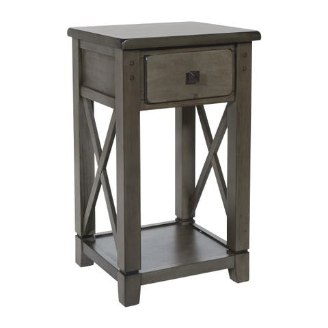 OSP home Furnishings Hillsboro Side Table in Grey Wash Finish