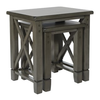 Hillsboro Nesting Tables in Grey Wash Finish - 2 Piece Set