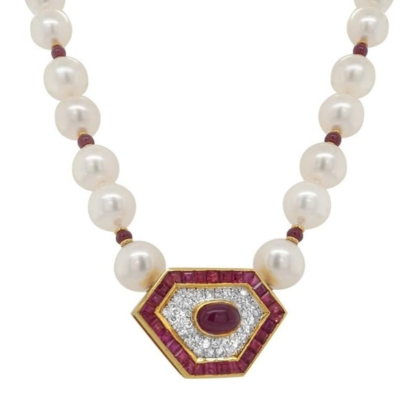18K Yellow Gold Pearl and Rubies Diamond Choker Necklace