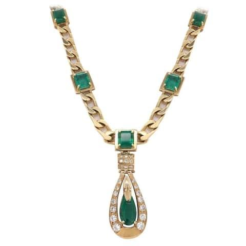 14K Yellow Gold Diamonds & Emerald Drop Necklace