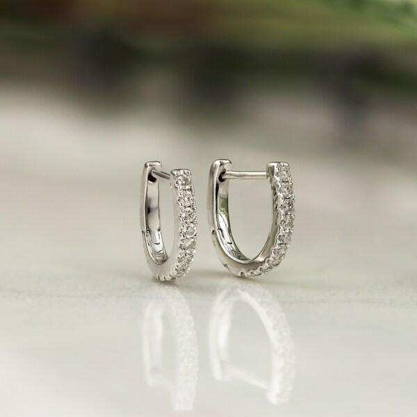 84935062dfbc1 Shop Auriya 0.15ctw Petite Huggie Hoop Diamond Earrings 14K Gold ...
