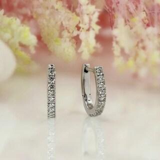 Auriya 0.15ctw Petite Huggie Hoop Diamond Earrings 14K Gold